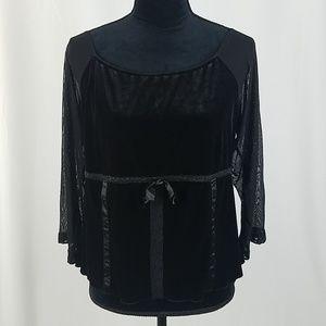 Bisou Bisou Intimates women XL black blouse velvet